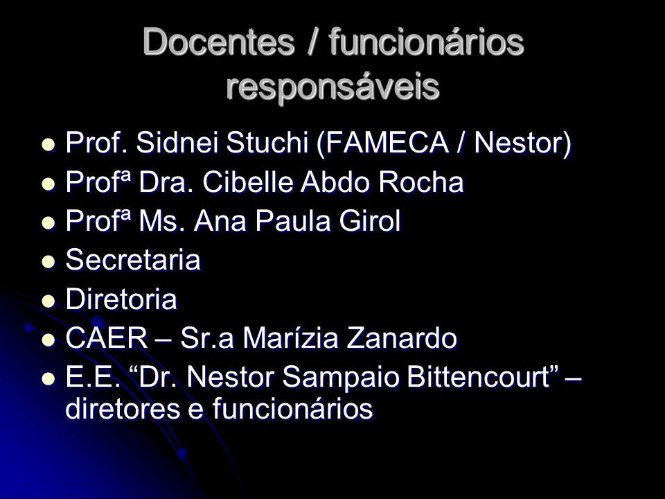 Docentes / funcionários responsáveis Prof. Sidnei Stuchi (FAMECA / Nestor) Prof. Sidnei Stuchi (FAMECA / Nestor) Profª Dra. Cibelle Abdo Rocha Profª D