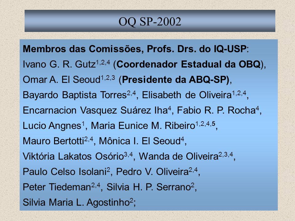 Membros das Comissões, Profs. Drs. do IQ-USP: Ivano G. R. Gutz 1,2,4 (Coordenador Estadual da OBQ), Omar A. El Seoud 1,2,3 (Presidente da ABQ-SP), Bay