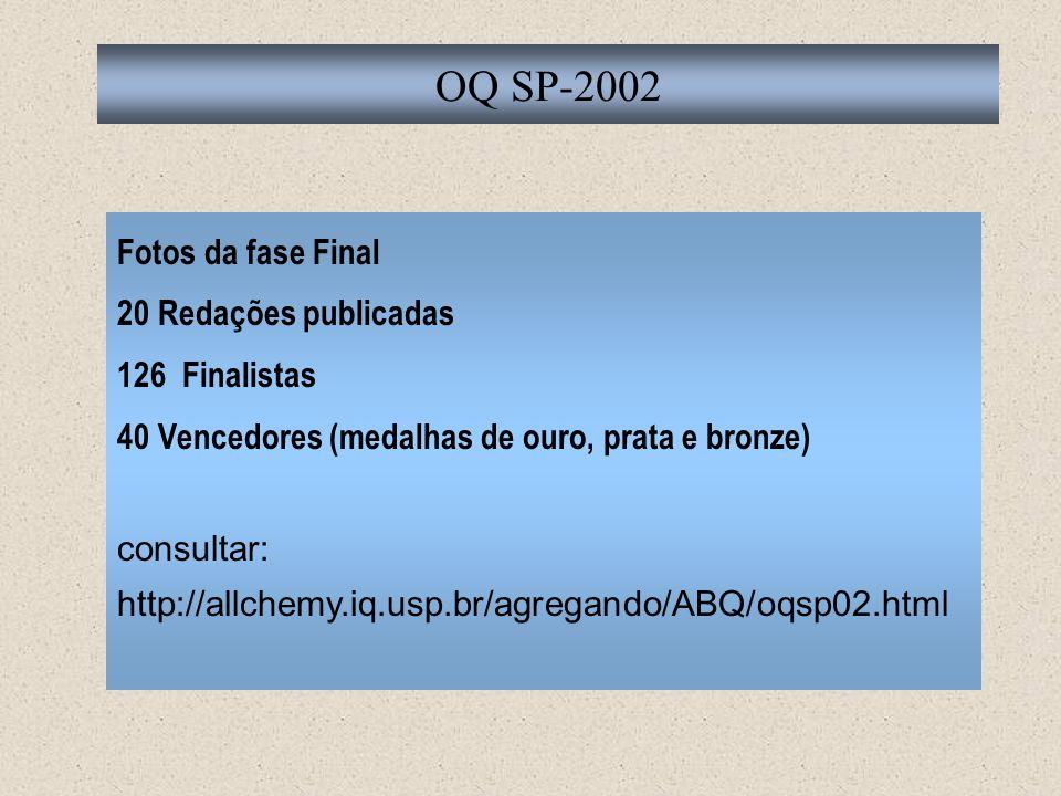 Fotos da fase Final 20 Redações publicadas 126 Finalistas 40 Vencedores (medalhas de ouro, prata e bronze) consultar: http://allchemy.iq.usp.br/agrega