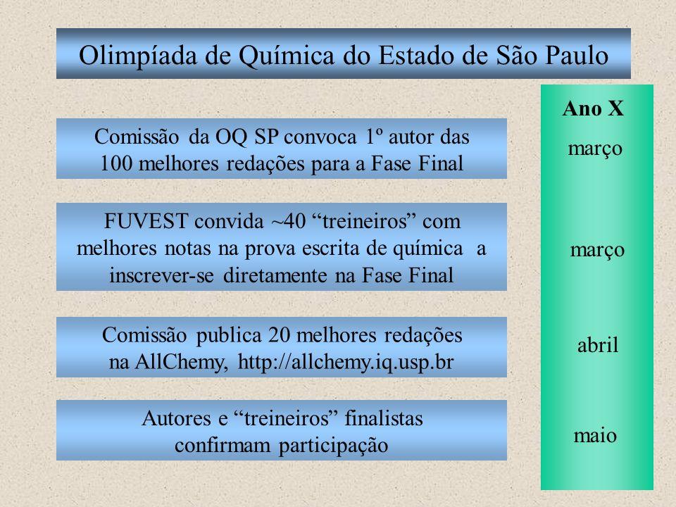 Olimpíada de Química do Estado de São Paulo Comissão da OQ SP convoca 1º autor das 100 melhores redações para a Fase Final FUVEST convida ~40 treineir