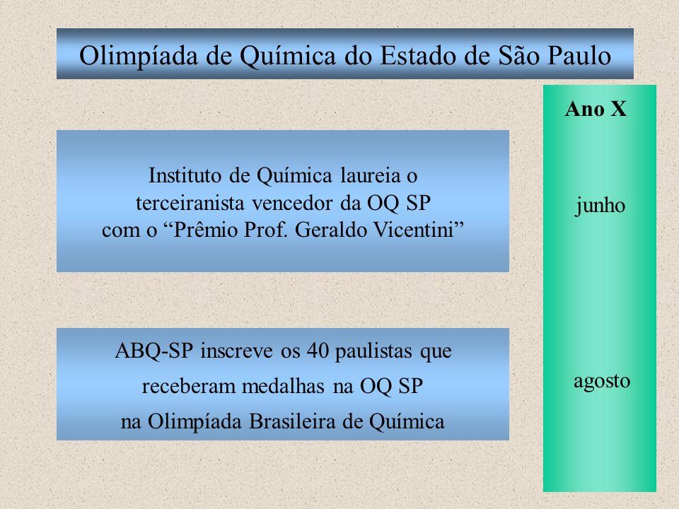 Olimpíada de Química do Estado de São Paulo ABQ-SP inscreve os 40 paulistas que receberam medalhas na OQ SP na Olimpíada Brasileira de Química Ano X j