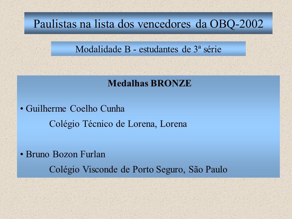 Paulistas na lista dos vencedores da OBQ-2002 Modalidade B - estudantes de 3ª série Medalhas BRONZE Guilherme Coelho Cunha Colégio Técnico de Lorena,