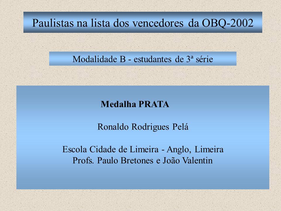 Paulistas na lista dos vencedores da OBQ-2002 Modalidade B - estudantes de 3ª série Medalha PRATA Ronaldo Rodrigues Pelá Escola Cidade de Limeira - An