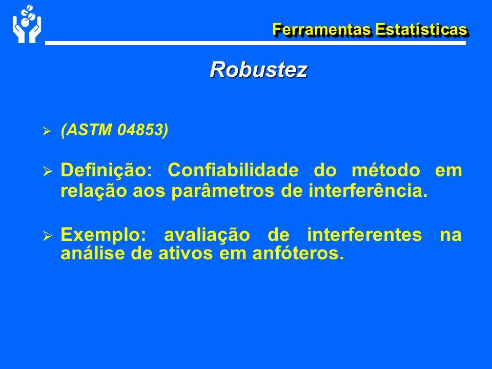 Ferramentas Estatísticas Robustez (ASTM 04853) Definição: Confiabilidade do método em relação aos parâmetros de interferência. Exemplo: avaliação de i