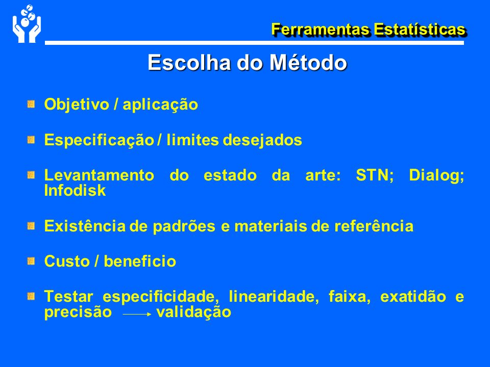 Ferramentas Estatísticas Objetivo / aplicação Especificação / limites desejados Levantamento do estado da arte: STN; Dialog; Infodisk Existência de pa