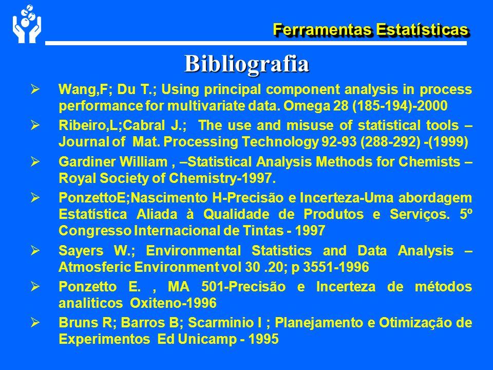 Ferramentas Estatísticas Bibliografia Wang,F; Du T.; Using principal component analysis in process performance for multivariate data. Omega 28 (185-19