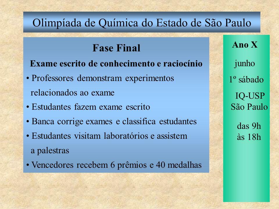 Olimpíada de Química do Estado de São Paulo ABQ-SP inscreve os 40 paulistas que receberam medalhas na OQ SP na Olimpíada Brasileira de Química Ano X junho agosto Instituto de Química laureia o terceiranista vencedor da OQ SP com o Prêmio Prof.
