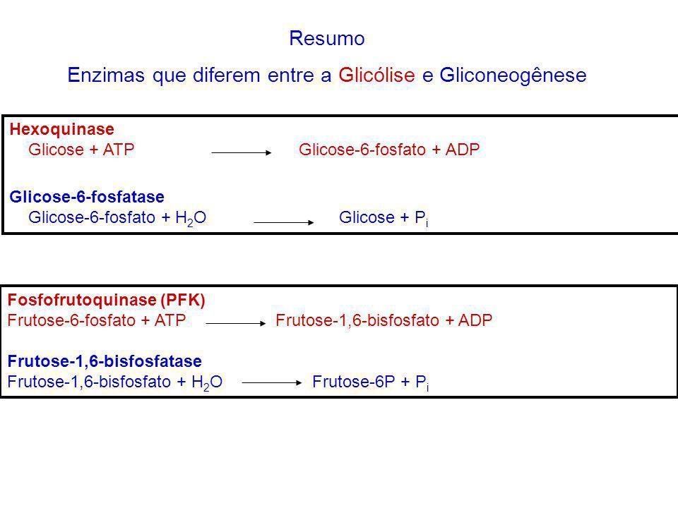 Resumo Enzimas que diferem entre a Glicólise e Gliconeogênese Hexoquinase Glicose + ATP Glicose-6-fosfato + ADP Glicose-6-fosfatase Glicose-6-fosfato