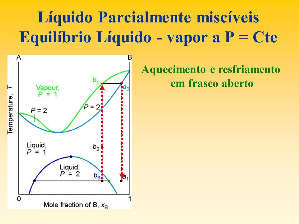 Líquido Parcialmente miscíveis Equilíbrio Líquido - vapor a P = Cte Aquecimento e resfriamento em frasco aberto