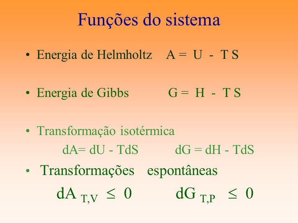 Funções do sistema Energia de Helmholtz A = U - T S Energia de Gibbs G = H - T S Transformação isotérmica dA= dU - TdS dG = dH - TdS Transformações es