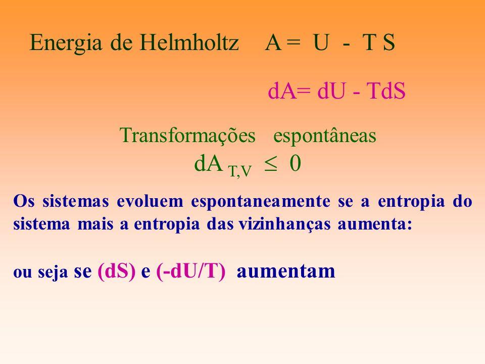 Os sistemas evoluem espontaneamente se a entropia do sistema mais a entropia das vizinhanças aumenta: ou seja se (dS) e (-dU/T) aumentam dA= dU - TdS