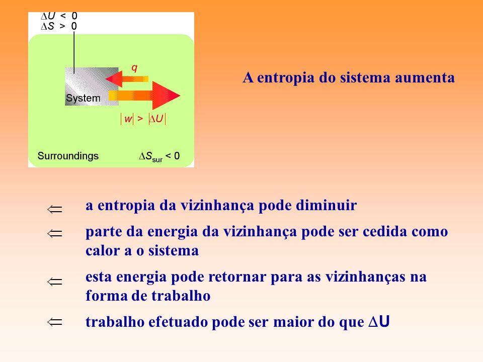a entropia da vizinhança pode diminuir parte da energia da vizinhança pode ser cedida como calor a o sistema esta energia pode retornar para as vizinh