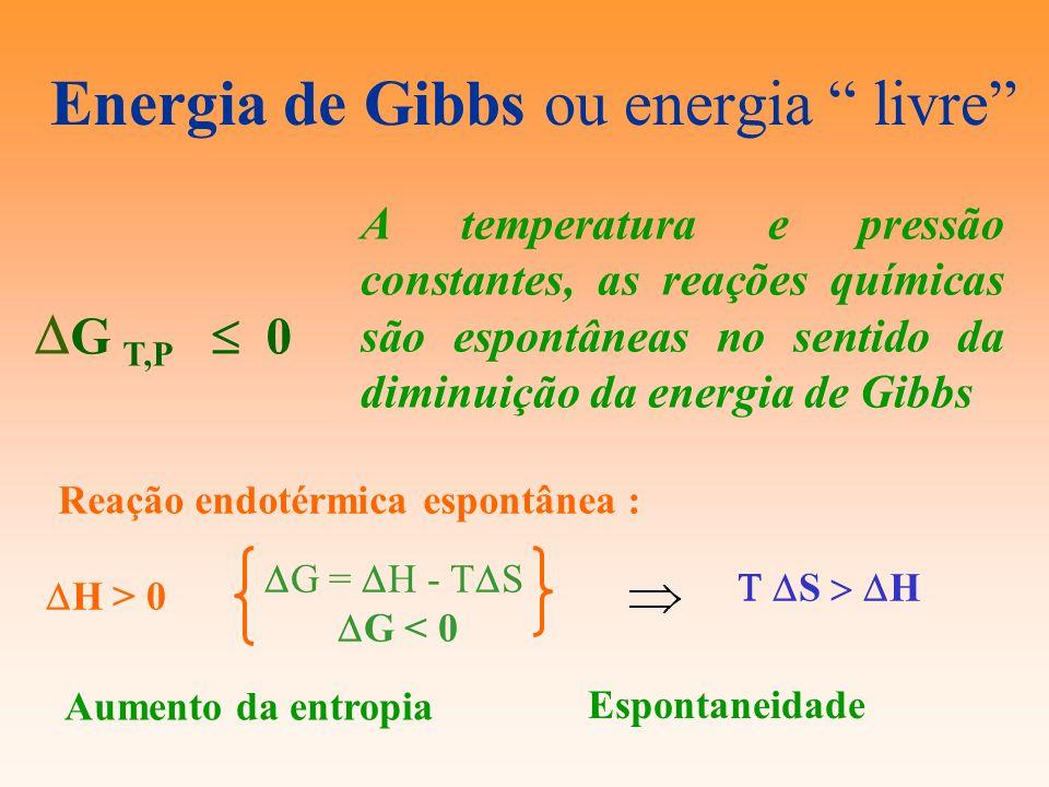 Energia de Gibbs ou energia livre G T,P 0 A temperatura e pressão constantes, as reações químicas são espontâneas no sentido da diminuição da energia
