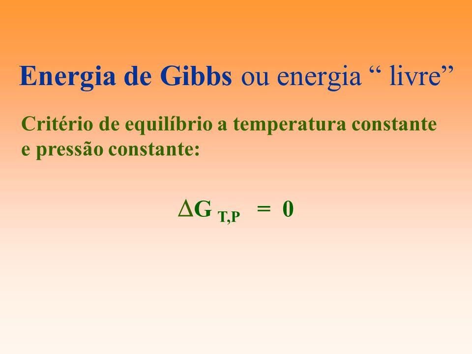 Energia de Gibbs ou energia livre Critério de equilíbrio a temperatura constante e pressão constante: G T,P = 0