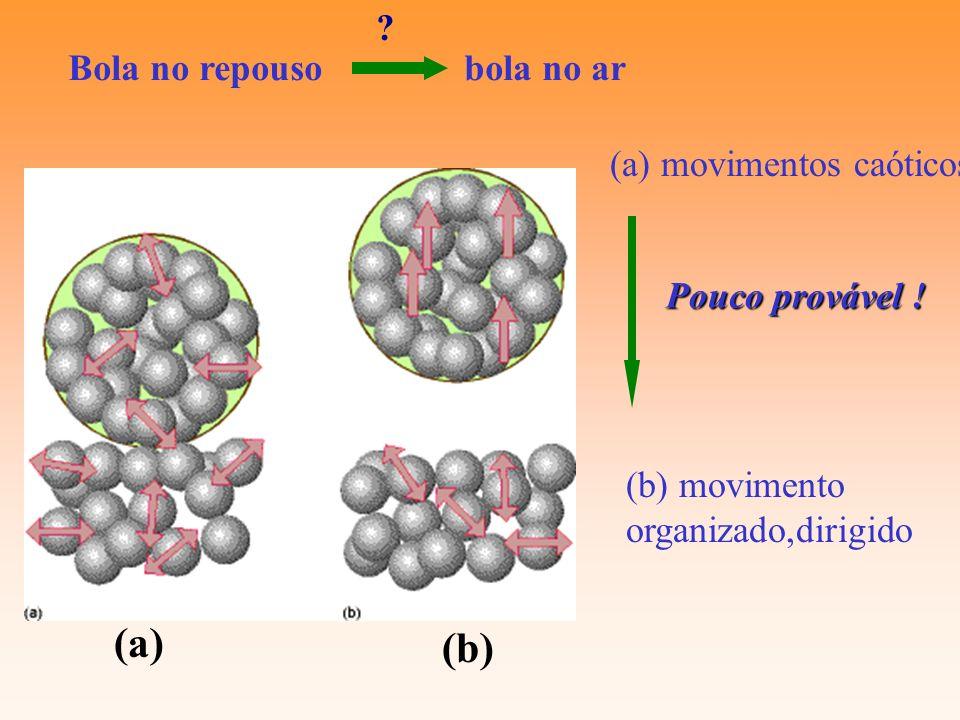Bola no repouso bola no ar (a) movimentos caóticos (b) movimento organizado,dirigido Pouco provável ! (a) (b) ?