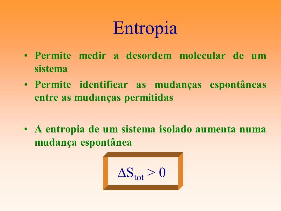 Entropia Permite medir a desordem molecular de um sistema Permite identificar as mudanças espontâneas entre as mudanças permitidas A entropia de um si