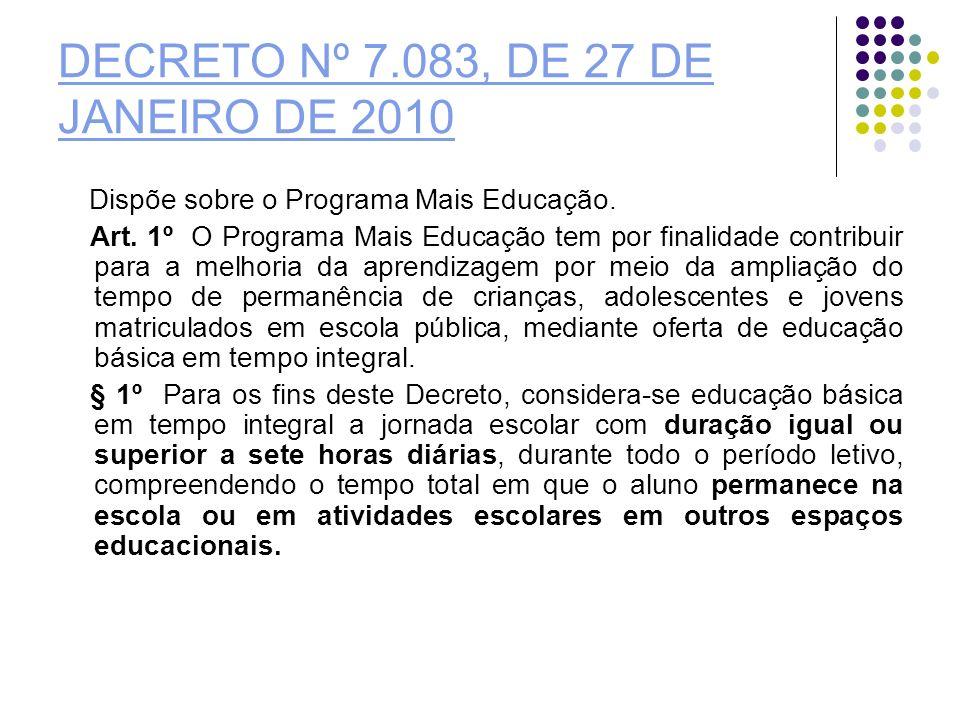 DECRETO Nº 7.083, DE 27 DE JANEIRO DE 2010 Dispõe sobre o Programa Mais Educação. Art. 1º O Programa Mais Educação tem por finalidade contribuir para