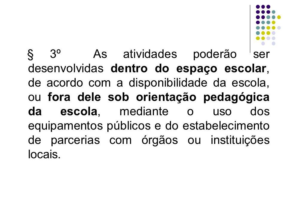 § 3º As atividades poderão ser desenvolvidas dentro do espaço escolar, de acordo com a disponibilidade da escola, ou fora dele sob orientação pedagógi