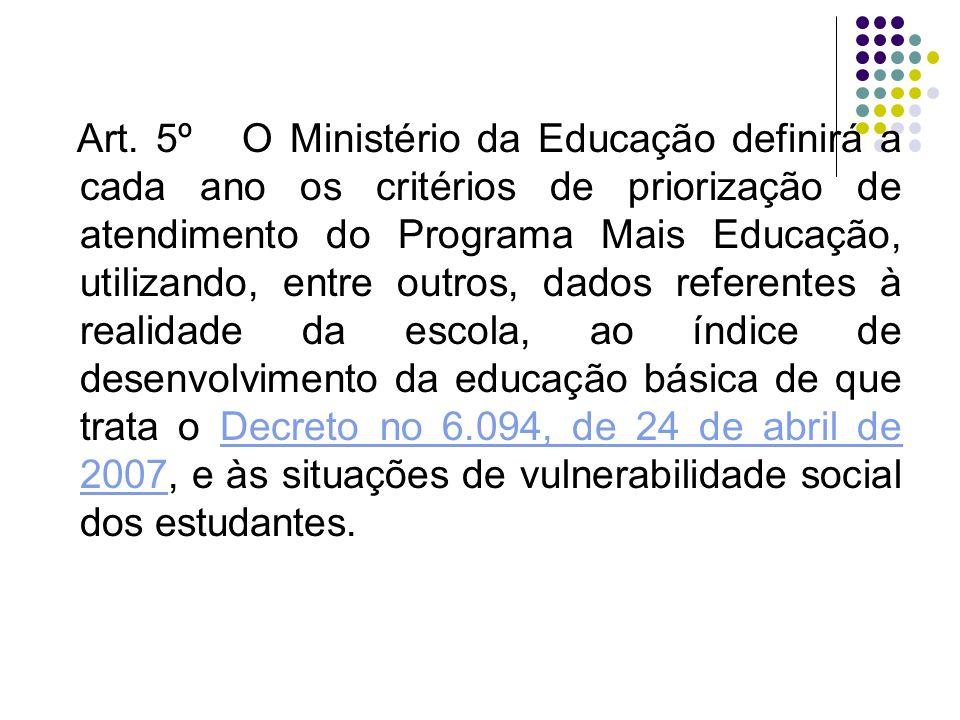 Art. 5º O Ministério da Educação definirá a cada ano os critérios de priorização de atendimento do Programa Mais Educação, utilizando, entre outros, d