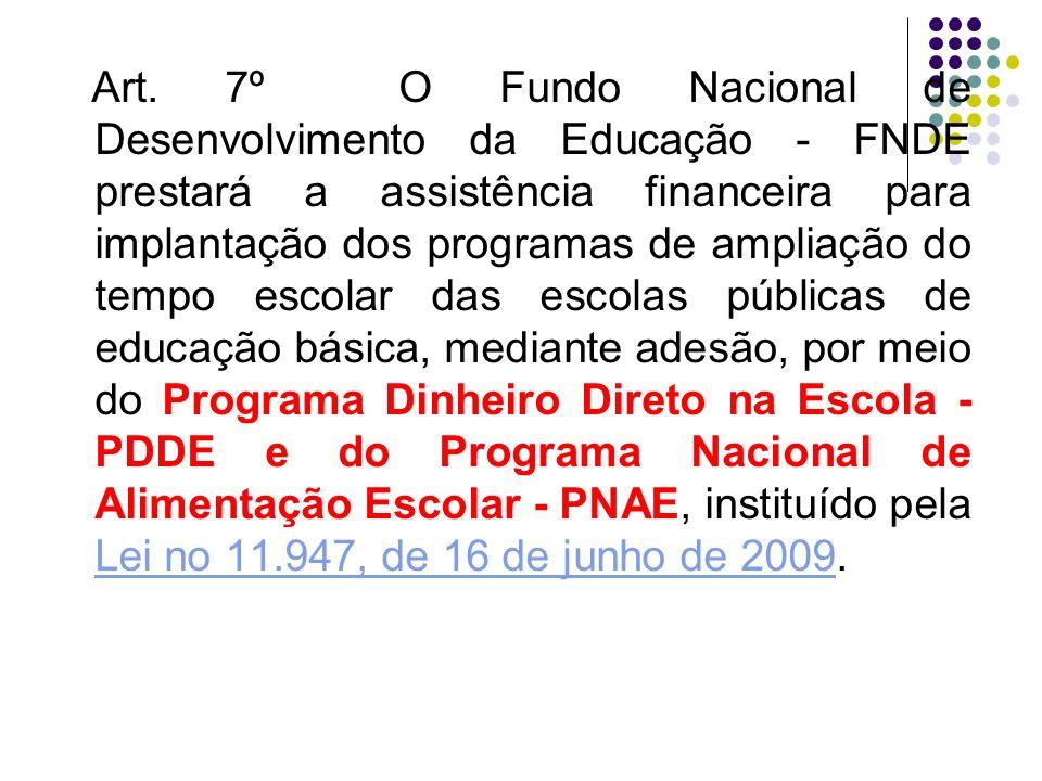 Art. 7º O Fundo Nacional de Desenvolvimento da Educação - FNDE prestará a assistência financeira para implantação dos programas de ampliação do tempo