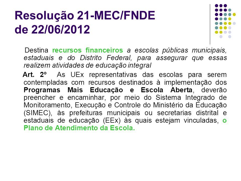 Resolução 21-MEC/FNDE de 22/06/2012 Destina recursos financeiros a escolas públicas municipais, estaduais e do Distrito Federal, para assegurar que es