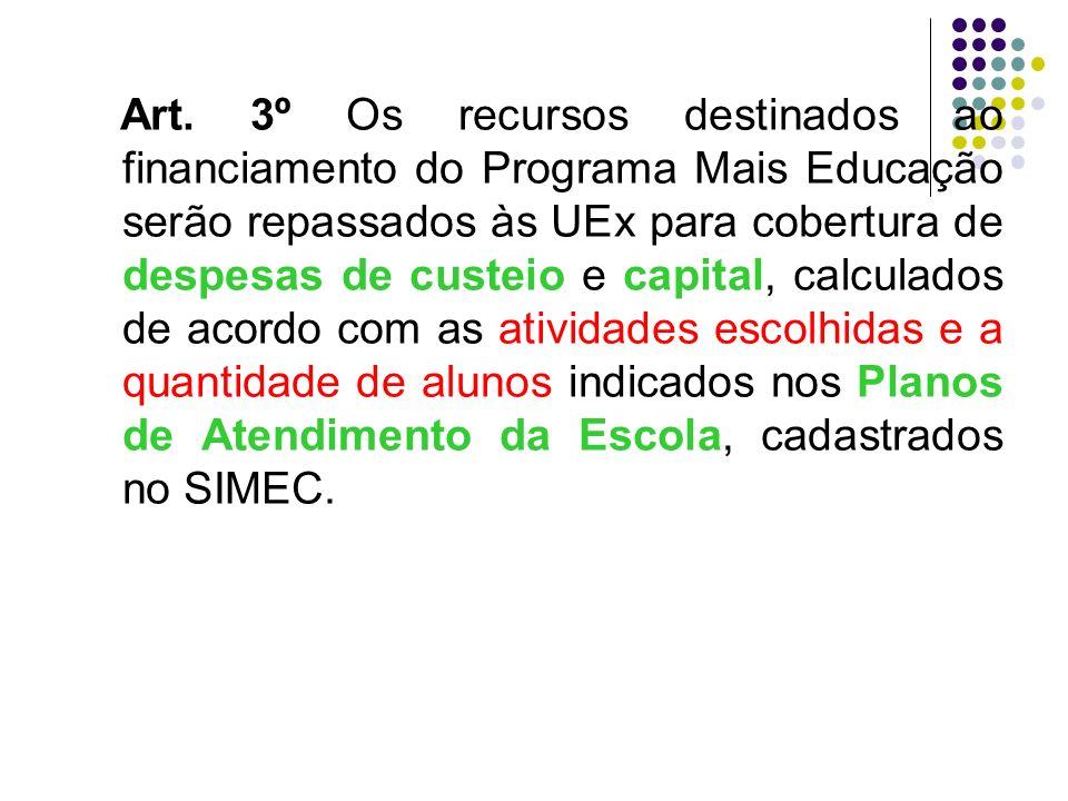 Art. 3º Os recursos destinados ao financiamento do Programa Mais Educação serão repassados às UEx para cobertura de despesas de custeio e capital, cal