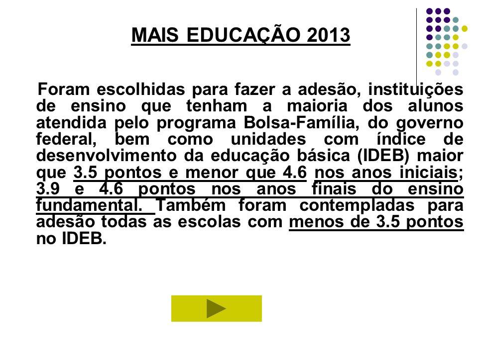 MAIS EDUCAÇÃO 2013 Foram escolhidas para fazer a adesão, instituições de ensino que tenham a maioria dos alunos atendida pelo programa Bolsa-Família,