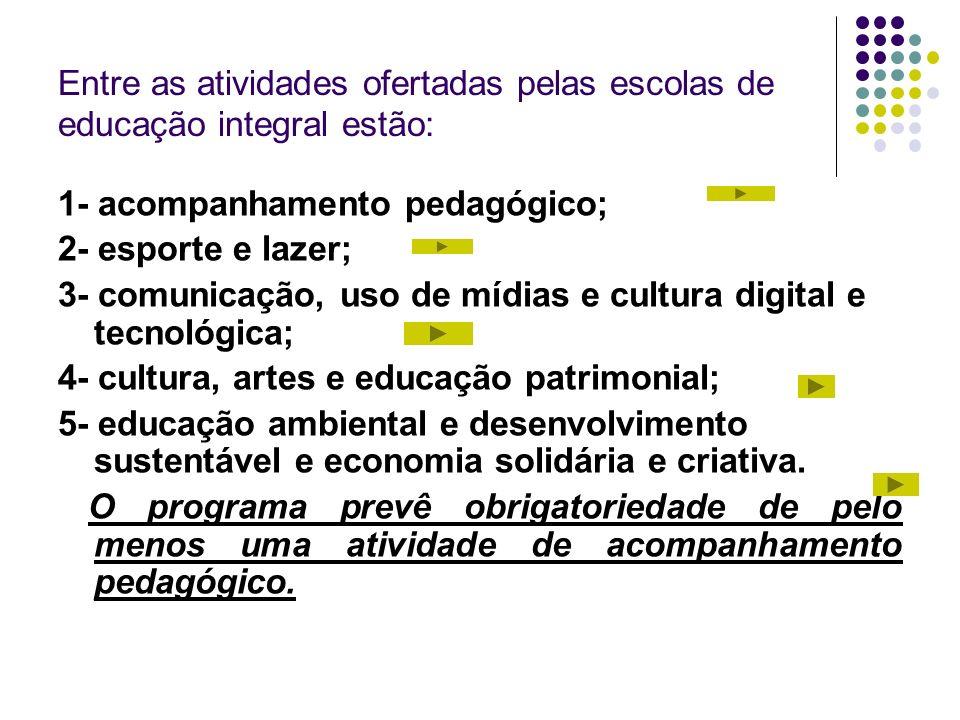 Entre as atividades ofertadas pelas escolas de educação integral estão: 1- acompanhamento pedagógico; 2- esporte e lazer; 3- comunicação, uso de mídia