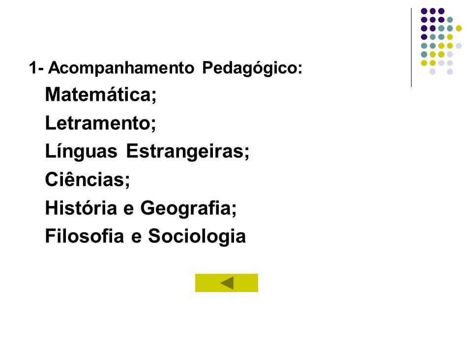 1- Acompanhamento Pedagógico: Matemática; Letramento; Línguas Estrangeiras; Ciências; História e Geografia; Filosofia e Sociologia