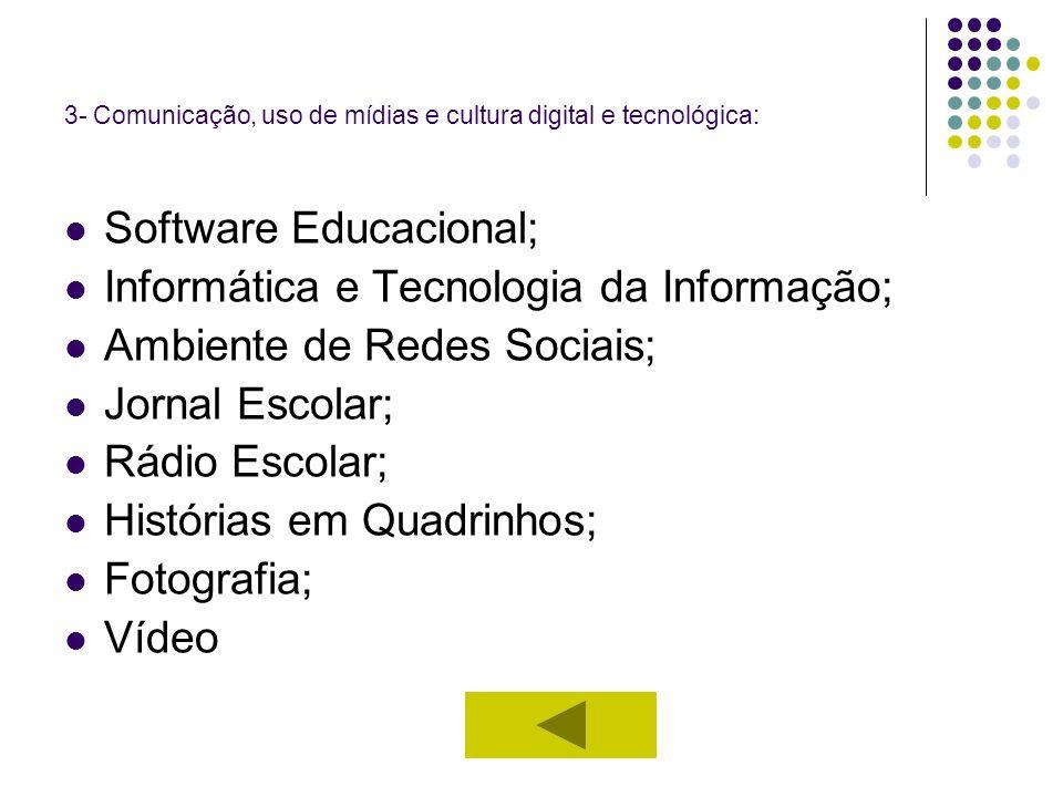 3- Comunicação, uso de mídias e cultura digital e tecnológica: Software Educacional; Informática e Tecnologia da Informação; Ambiente de Redes Sociais