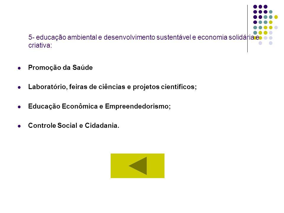 5- educação ambiental e desenvolvimento sustentável e economia solidária e criativa: Promoção da Saúde Laboratório, feiras de ciências e projetos cien