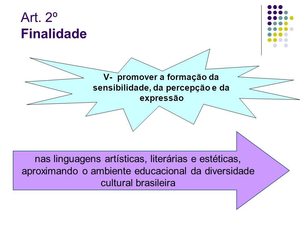 Art. 2º Finalidade V- promover a formação da sensibilidade, da percepção e da expressão nas linguagens artísticas, literárias e estéticas, aproximando