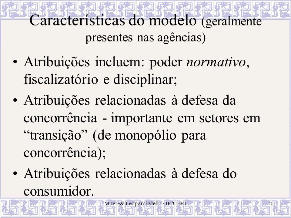 10 Características do modelo (geralmente presentes nas agências) Atribuições incluem: poder normativo, fiscalizatório e disciplinar; Atribuições relac