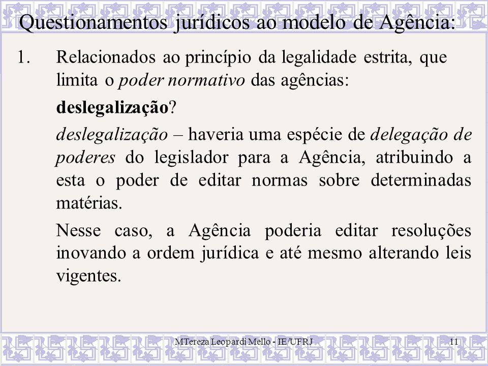 MTereza Leopardi Mello - IE/UFRJ11 Questionamentos jurídicos ao modelo de Agência: 1.Relacionados ao princípio da legalidade estrita, que limita o pod