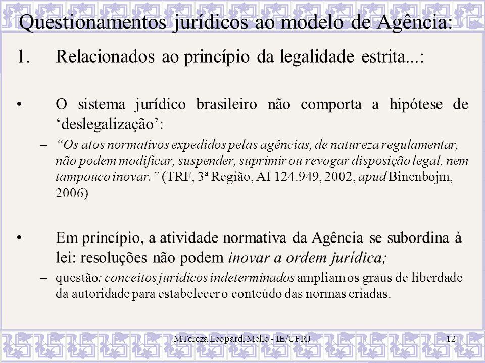 MTereza Leopardi Mello - IE/UFRJ12 Questionamentos jurídicos ao modelo de Agência: 1.Relacionados ao princípio da legalidade estrita...: O sistema jur