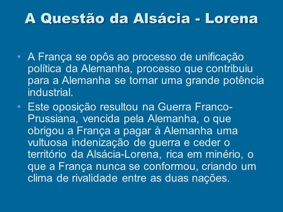 Franco - GermânicoDestaques A questão da Alsácia - LorenaA questão da Alsácia - Lorena A questão MarroquinaA questão Marroquina Ver Mapa Índice
