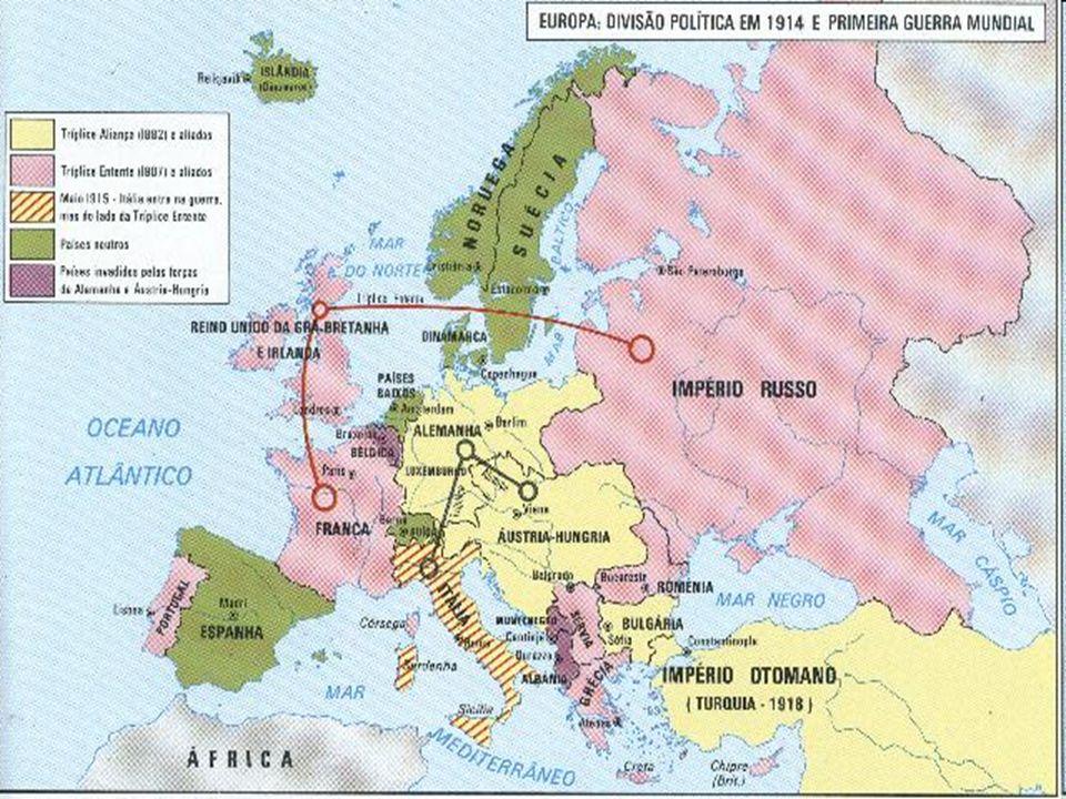 BLOCOS POLÍTICOS MILITARES A) Franco - Germânico b) Anglo - Germânico c) Russo - Germânico d) Russo - Austro e) Sérvio - Austro Tríplice Entente ou Al
