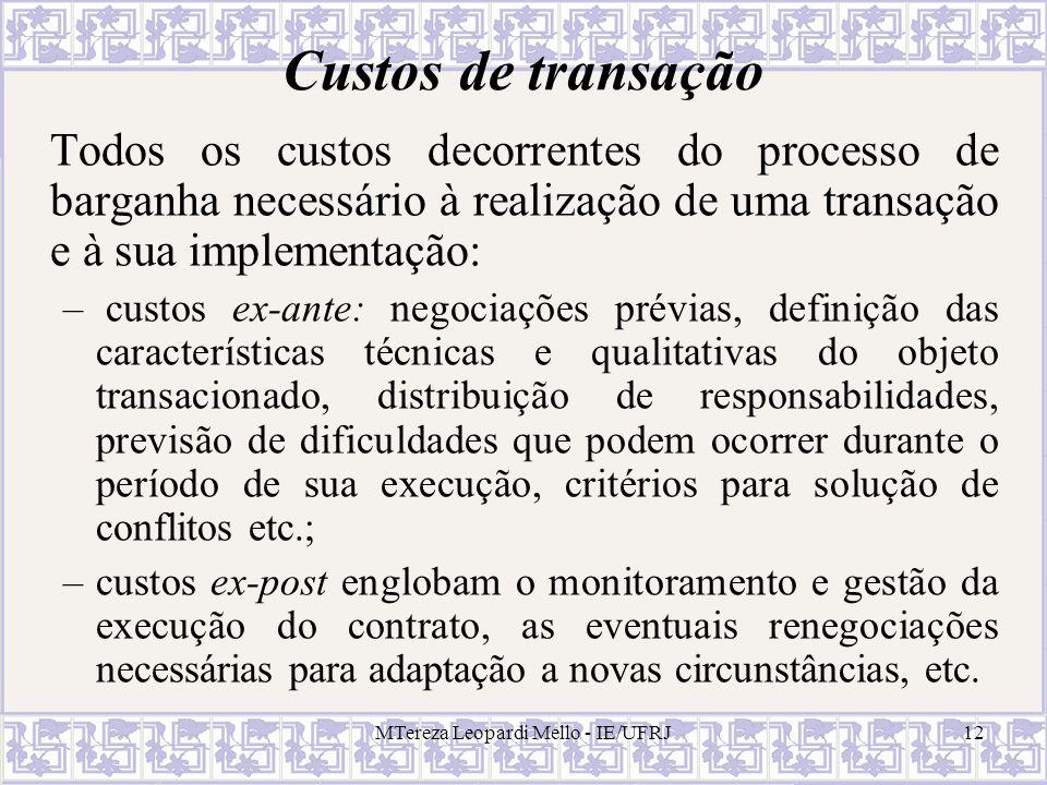 MTereza Leopardi Mello - IE/UFRJ12 Custos de transação Todos os custos decorrentes do processo de barganha necessário à realização de uma transação e