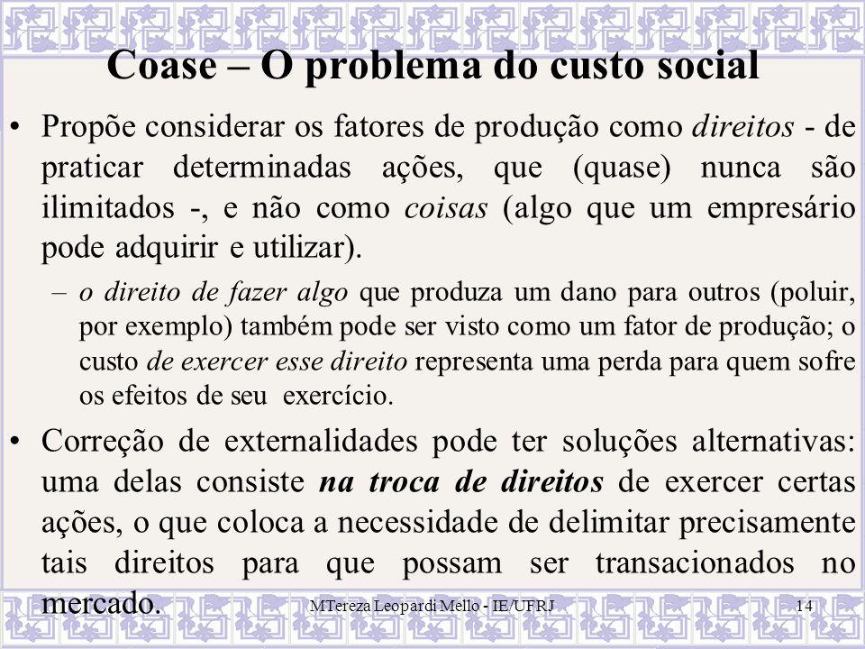 MTereza Leopardi Mello - IE/UFRJ14 Coase – O problema do custo social Propõe considerar os fatores de produção como direitos - de praticar determinada