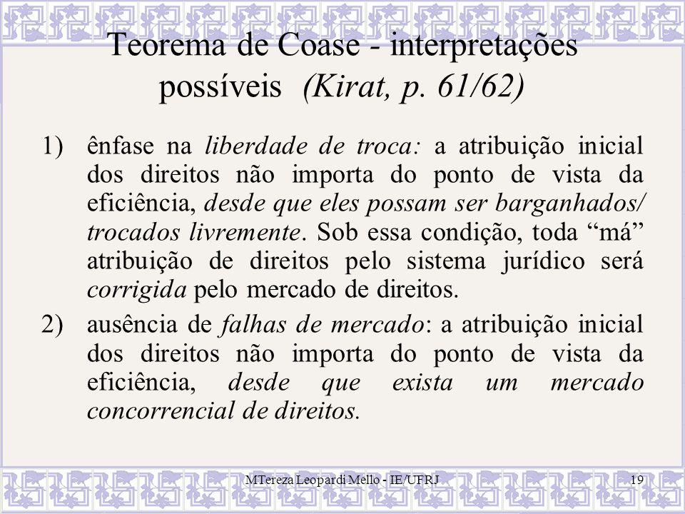 MTereza Leopardi Mello - IE/UFRJ19 Teorema de Coase - interpretações possíveis (Kirat, p. 61/62) 1)ênfase na liberdade de troca: a atribuição inicial