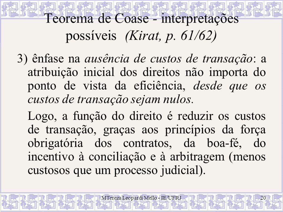 MTereza Leopardi Mello - IE/UFRJ20 Teorema de Coase - interpretações possíveis (Kirat, p. 61/62) 3) ênfase na ausência de custos de transação: a atrib