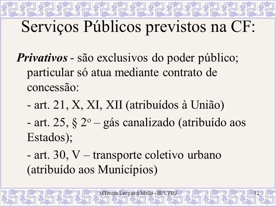 MTereza Leopardi Mello - IE/UFRJ12 Serviços Públicos previstos na CF: Privativos - são exclusivos do poder público; particular só atua mediante contra