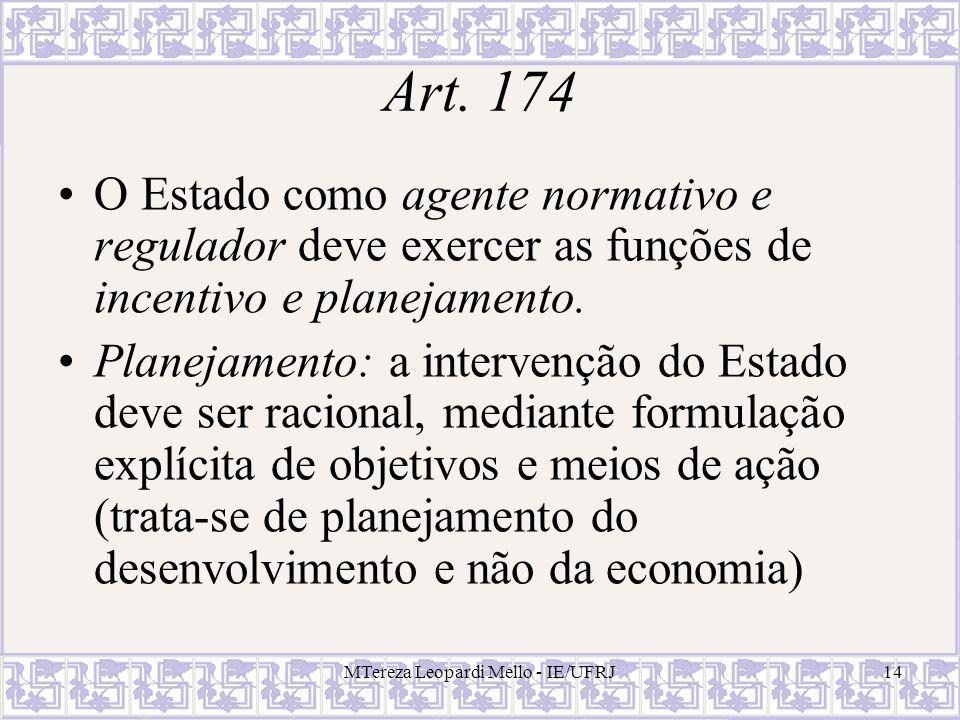 MTereza Leopardi Mello - IE/UFRJ14 Art. 174 O Estado como agente normativo e regulador deve exercer as funções de incentivo e planejamento. Planejamen