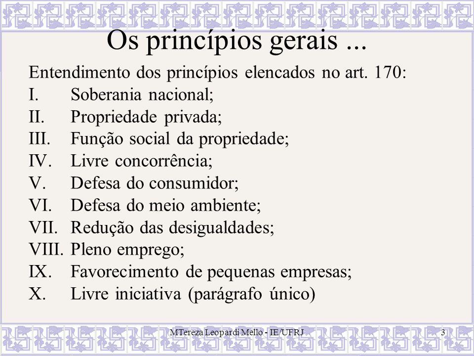 MTereza Leopardi Mello - IE/UFRJ3 Os princípios gerais... Entendimento dos princípios elencados no art. 170: I.Soberania nacional; II.Propriedade priv