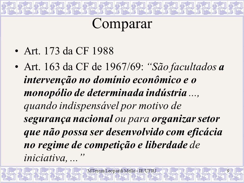 MTereza Leopardi Mello - IE/UFRJ9 Comparar Art. 173 da CF 1988 Art. 163 da CF de 1967/69: São facultados a intervenção no domínio econômico e o monopó