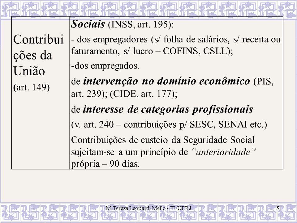 M.Tereza Leopardi Mello - IE/UFRJ5 Contribui ções da União (art. 149) Sociais (INSS, art. 195): - dos empregadores (s/ folha de salários, s/ receita o