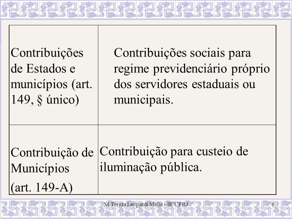 M.Tereza Leopardi Mello - IE/UFRJ6 Contribuições de Estados e municípios (art. 149, § único) Contribuições sociais para regime previdenciário próprio