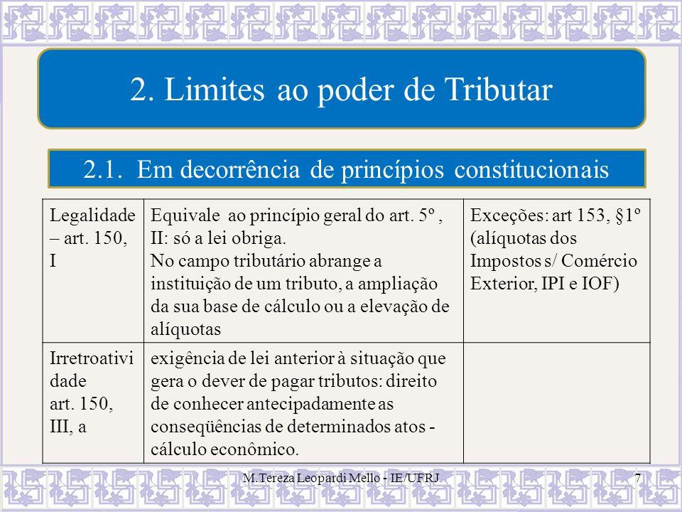 M.Tereza Leopardi Mello - IE/UFRJ7 2. Limites ao poder de Tributar 2.1. Em decorrência de princípios constitucionais Legalidade – art. 150, I Equivale