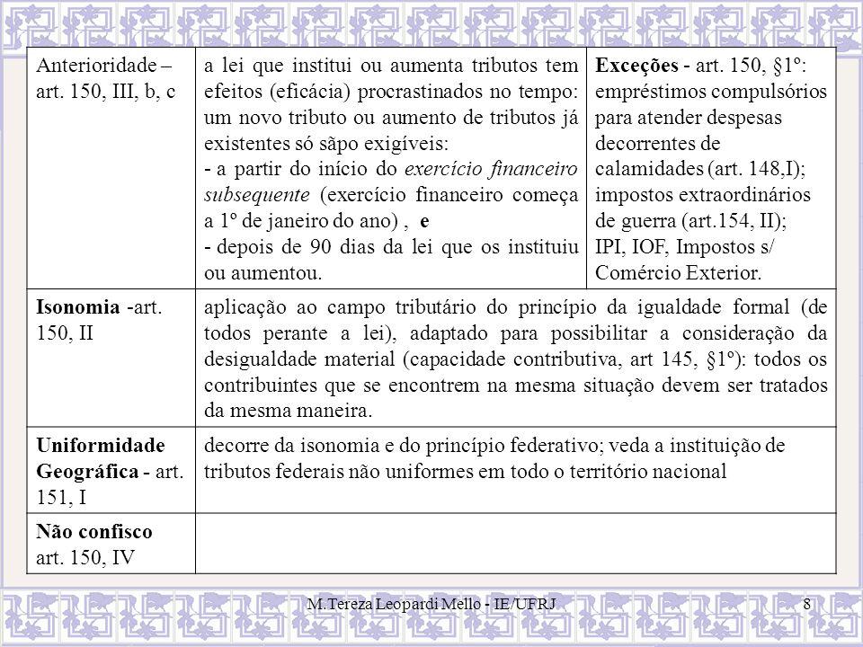 M.Tereza Leopardi Mello - IE/UFRJ8 Anterioridade – art. 150, III, b, c a lei que institui ou aumenta tributos tem efeitos (eficácia) procrastinados no