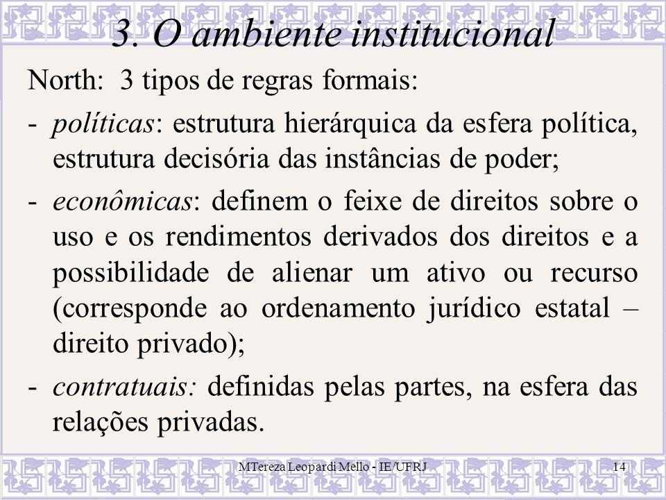 MTereza Leopardi Mello - IE/UFRJ14 3. O ambiente institucional North: 3 tipos de regras formais: -políticas: estrutura hierárquica da esfera política,